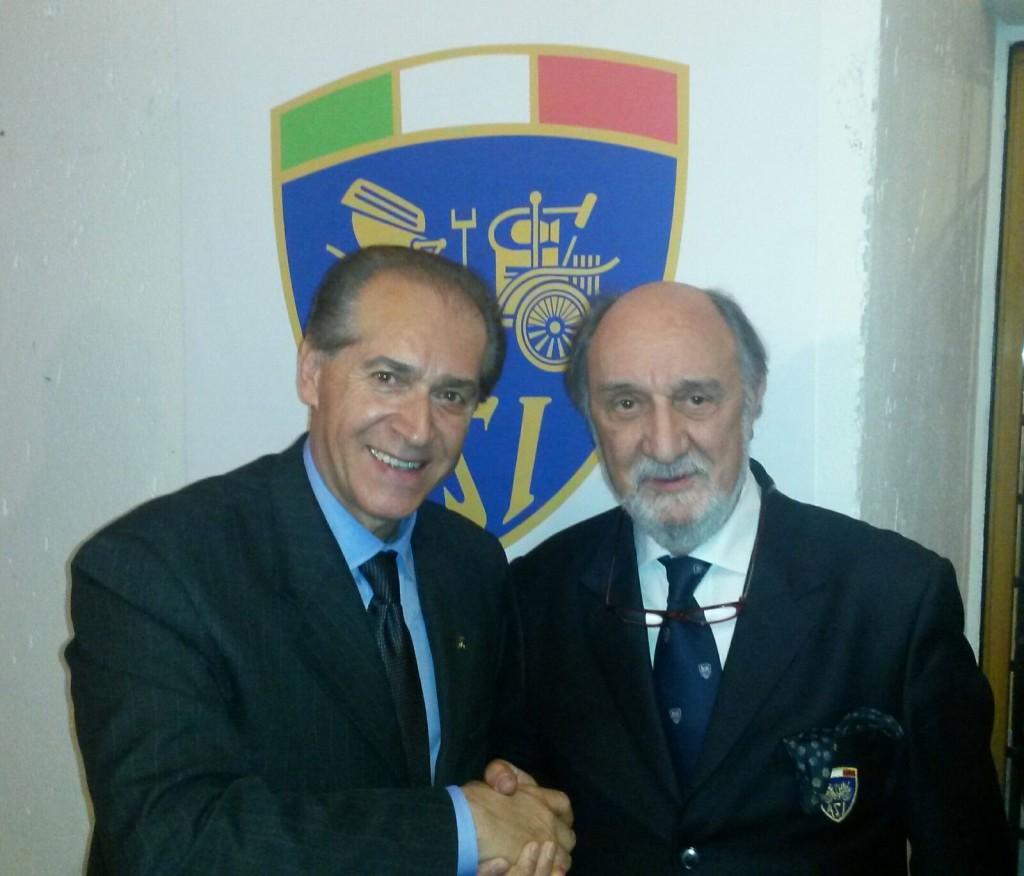 Fabio Lamborghini, direttore del Museo Ferruccio Lamborghini di Argelato con il presidente ASI Roberto Loi